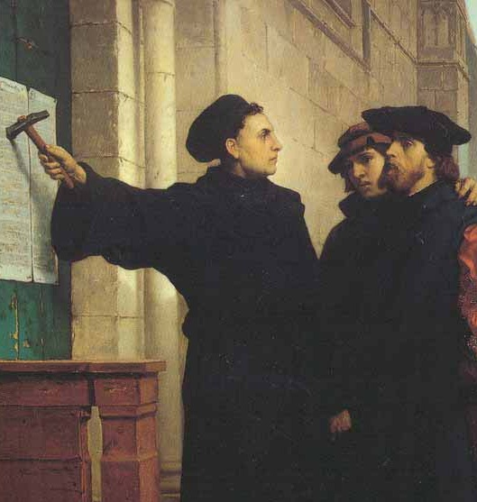 Martin Luther nails his 95 Theses to the door of the Castle Church of Wittenberg on Oct. 31, 1517.